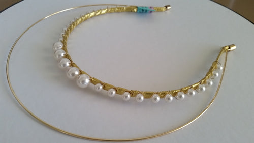 Ladies gold and ivory pearl crown