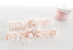 Ivory and White Garter Set