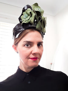 Green brown and white leather flower with leaves crown headpiece Julie Herbert Millinery fasinators australia