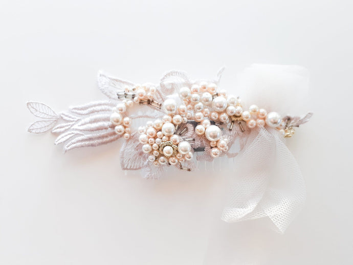 Ladies Champagne Guipure with Swarovski Pearls