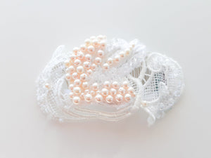 Ladies Ivory and White Swarovski Pearl and Crystal guipure lace headpiece