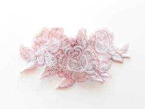 Ladies Pink Flower Guipure Lace Bridal Headpiece