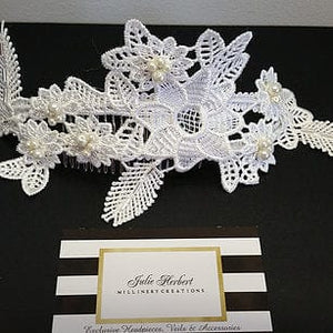 Guipure Lace Bridal headpiece with Ivory Swarovski