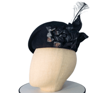 Black wool felt large leather flower beret