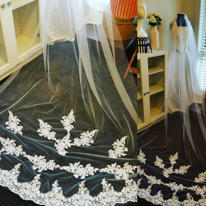 Ladies 1 tier White Cathedral tulle with lace bridal Veil