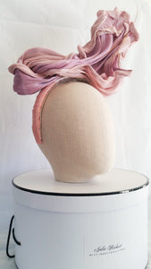 Lilac and baby pink silk abaca firewalk headpiece