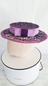 Ladies Purple Sinamay with Rafia boater hat