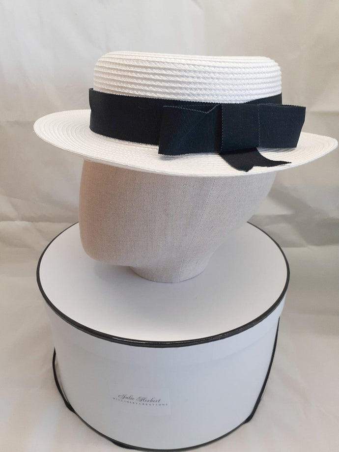 Ladies white and french navy blue straw boater hat
