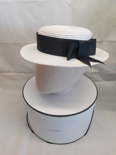 Ladies white and black straw boater hat