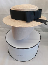 Ladies ivory and black straw boater hat