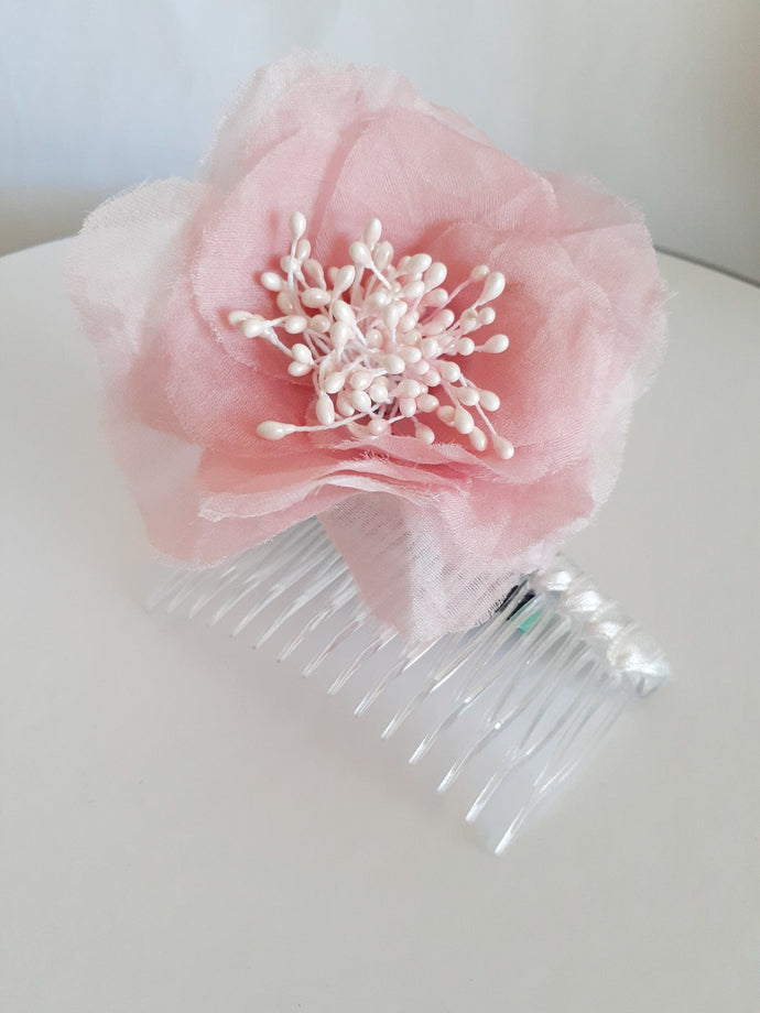 Ladies dusty pink silk satin organza flower piece on comb