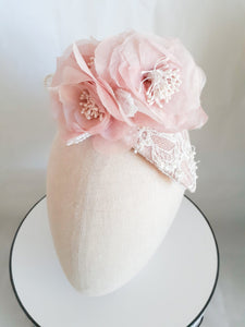 Baby Pink Sill Satin Organza flowers with lace teardrop headpiece