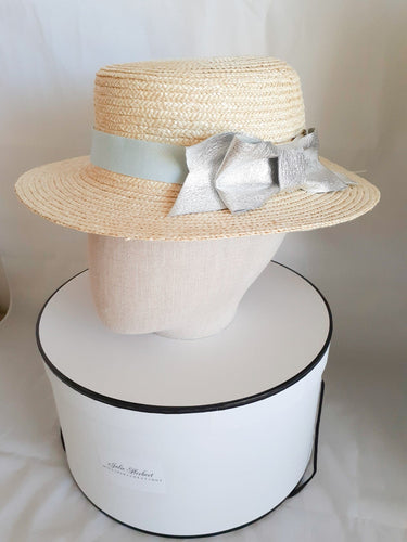 Natural ladies straw Blue and silver leather bow hat