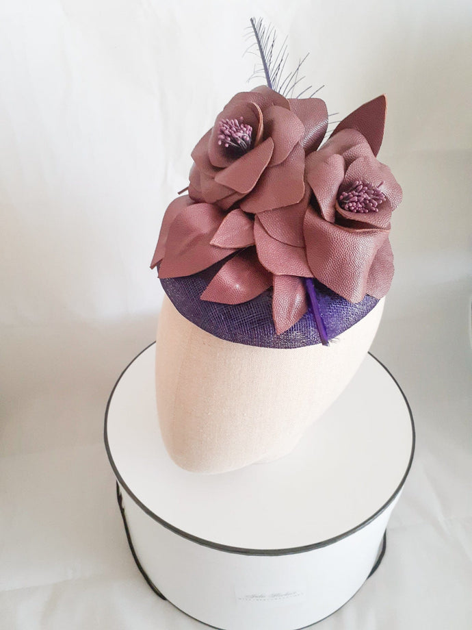 Purple sinamay and leather flower button headpiece