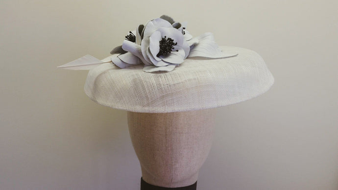 White and black leather sinamay brim