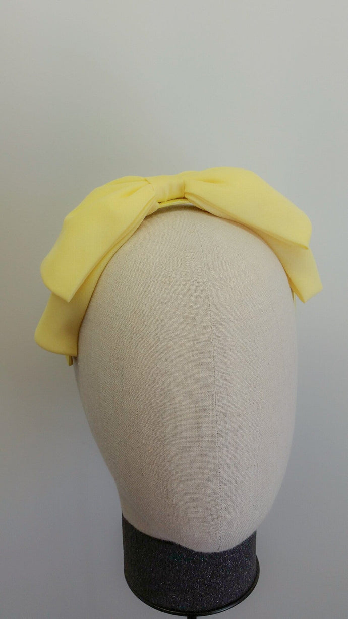 ladies fabric Yellow bow headband