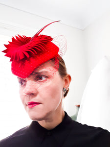 Ladies Autumn Winter Red burgundy wool Felt percher fascinator Headpiece Julie Herbert Millinery
