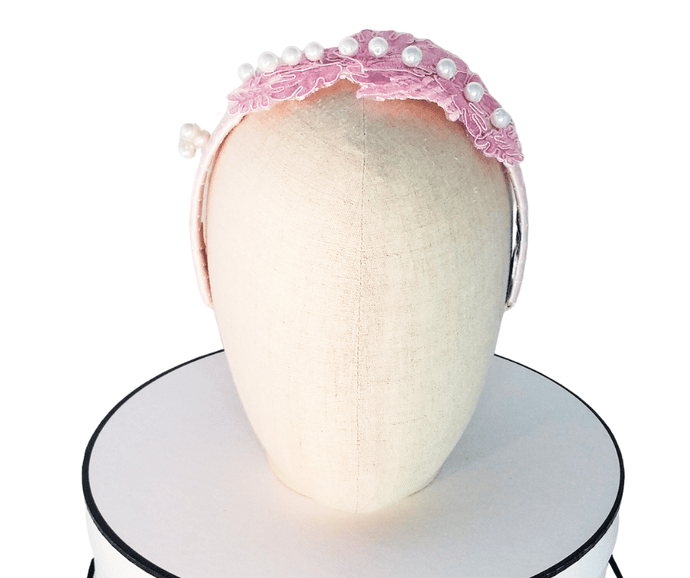 Ladies Baby pink pastel guipure lace headband with Swarovski pearls