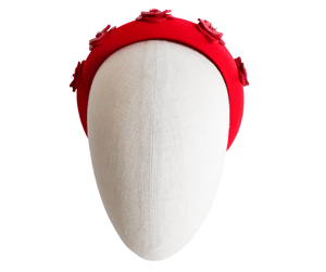 Ladies Red Leather Flower Padded Headband