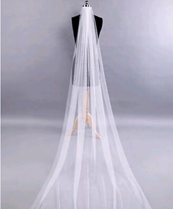 "Ladies Ankle Length 70"" 1 tier White tulle Bridal veil"