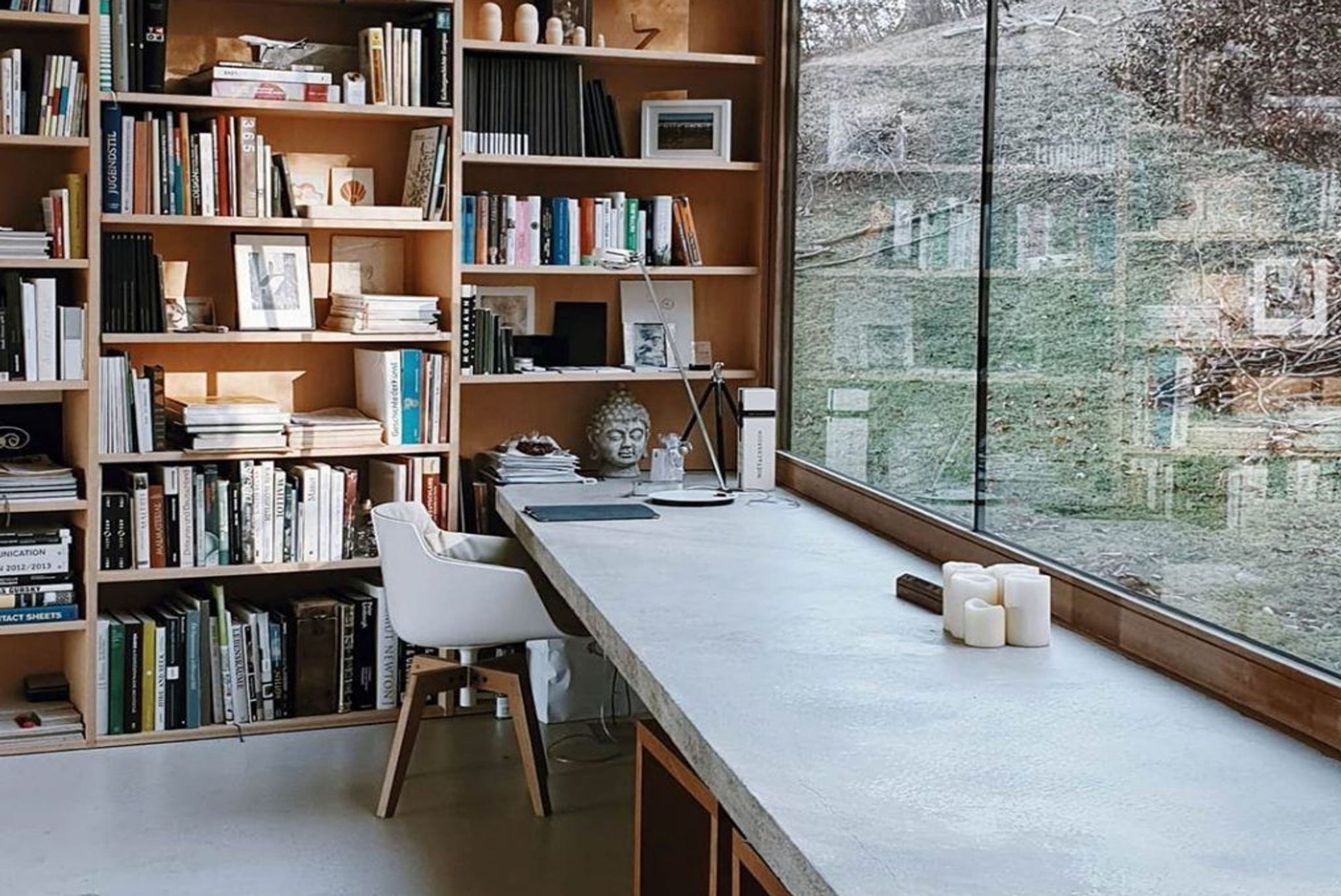 Zen office with books and windows