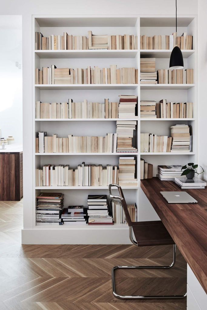 Neutral Office Space with books