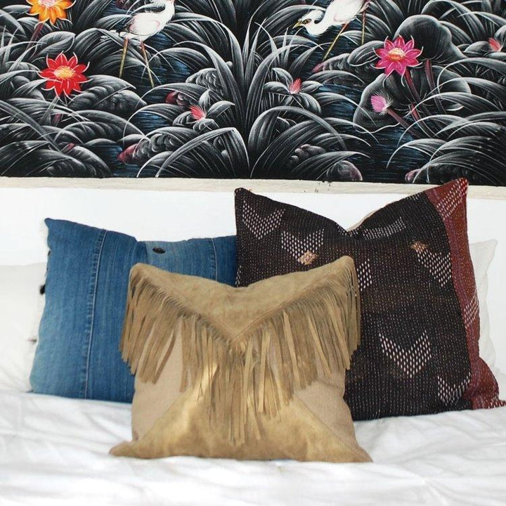 Handmade Imported Italian Suede Fringe Mixed with Canvas Boho Pillow Amber Seagraves