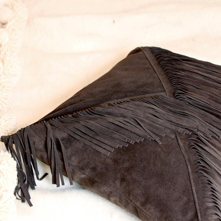 Handmade Imported Italian Suede Fringe Boho Pillow Amber Seagraves  Bohemian Leather Fringe Pillow