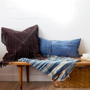 Upcycled Reclaimed Denim Lumbar Pillow by Amber Seagraves