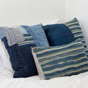 Patchwork Denim Pillow with Vintage Stitching by Amber Seagraves