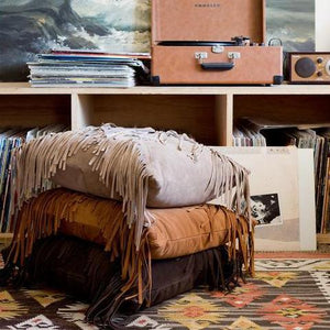 Handmade Imported Italian Suede Fringe Boho Pillow Amber Seagraves