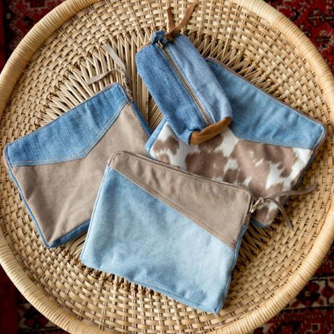 Suede and Denim Zip pouch by Amber Seagraves
