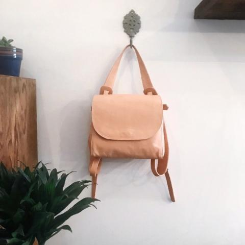 Krissa Veg Tan Leather Backpack Bag by Amber Seagraves