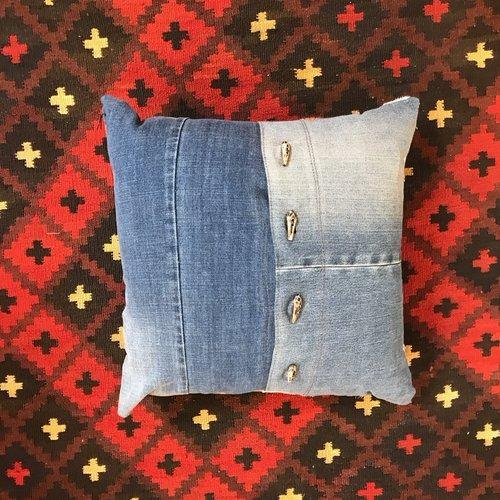 Upcycled Reclaimed Denim Pillow with Buffalo Buttons by Amber Seagraves