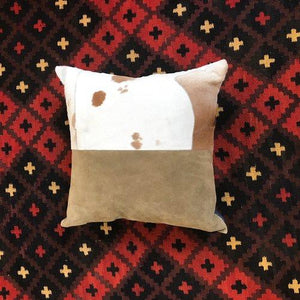 Dakota Cowhide Pillow Mixed w/ Italian Suede by Amber Seagraves