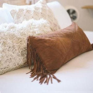 Imported Italian Suede Fringe Lumbar Boho Pillow Amber Seagraves