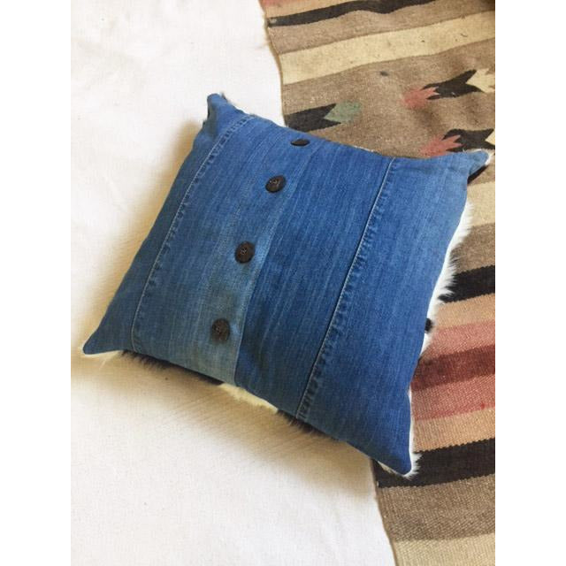Cowhide Pillow with Denim Back Body and Buffalo Horn Buttons