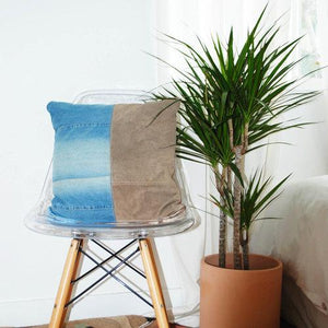 Italian Suede Pillow with Denim by Amber Seagraves