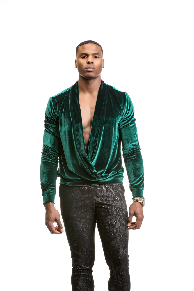 De Glace velvet Crossover Pullover Top - Velvet - Lee Rickie Collection