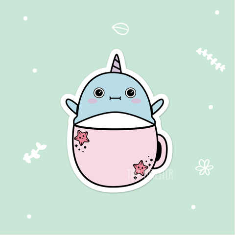 Norman the Narwhal in a Mug Sticker