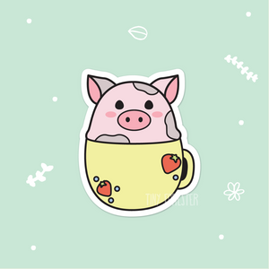 Pudding the Pig in a Mug Sticker