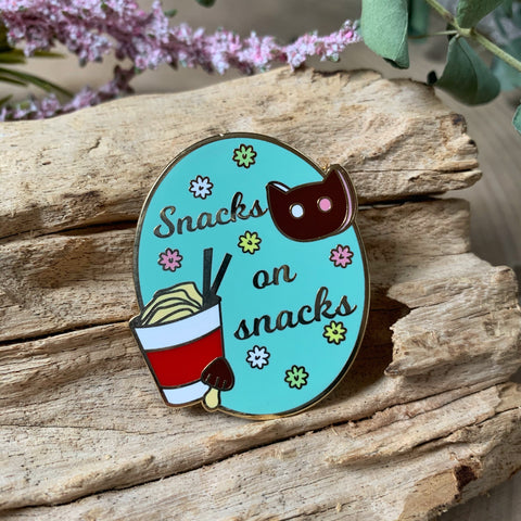 Snacks on Snacks Enamel Pin