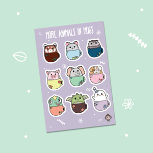 More Animals in Mugs Sticker Sheet