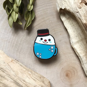 Snowman in a Mug Enamel Pin