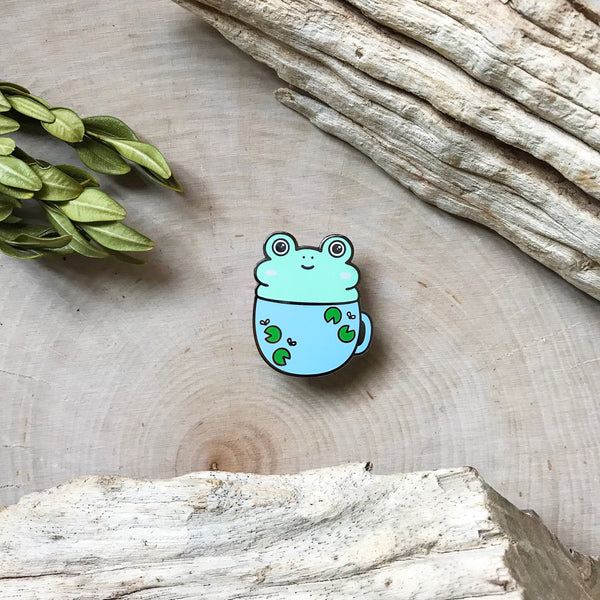 Frog in a Mug Enamel Pin