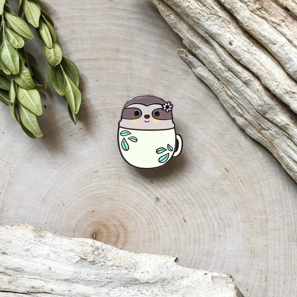 Sloth in a Mug Enamel Pin