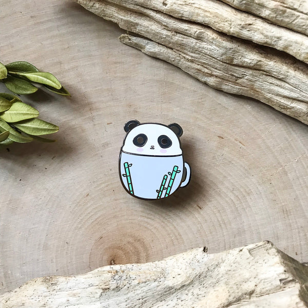 Panda in a Mug Enamel Pin