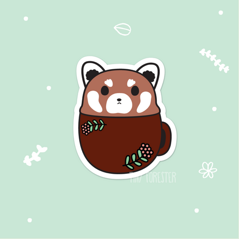 Grumpy Red Panda in a Mug Sticker