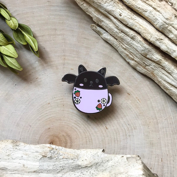 Bat in a mug Enamel Pin