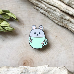 Bunny Rabbit in a Mug Enamel Pin
